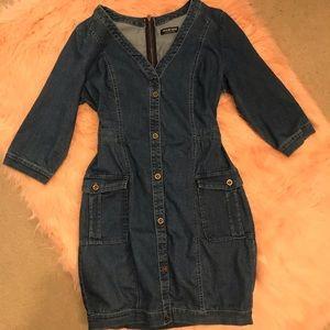 Fashion Nova Denim Dress With Pockets & Zipper